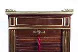 Antique French Brass Inlaid Tambour Front Cabinet c.1880-4