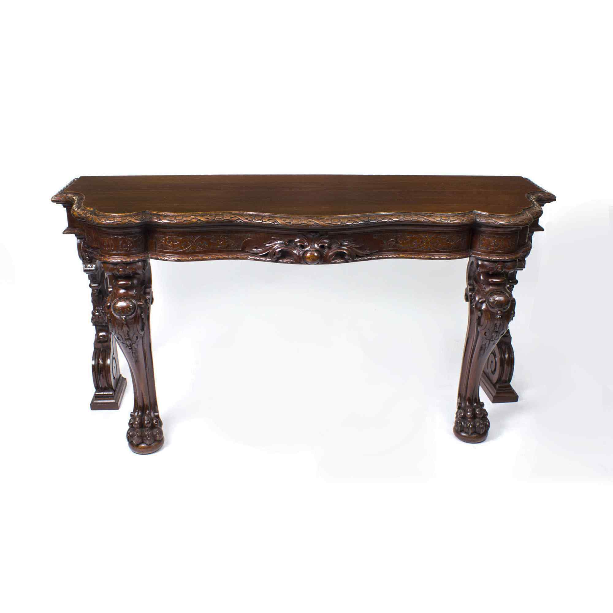 Antique Victorian Serpentine Carved Serving console table