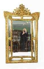 Specchio antico francese Revival Overmantel in stile dorato -6
