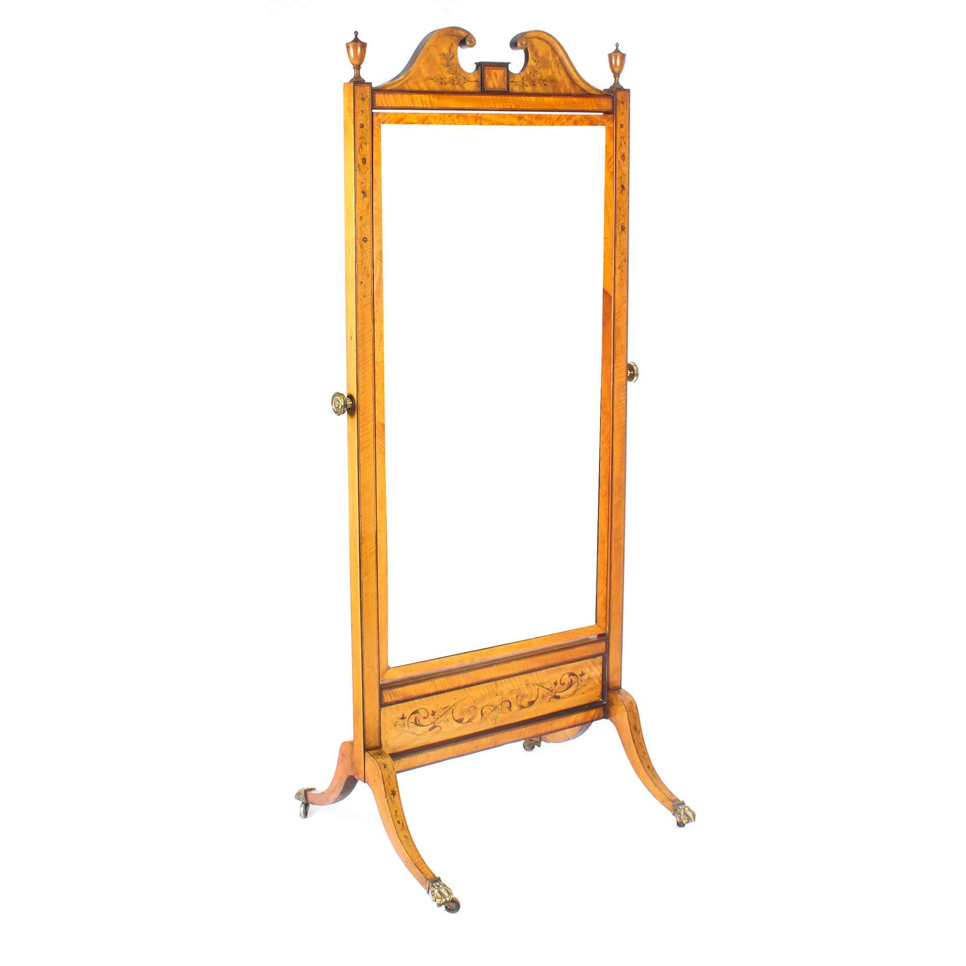 Antique Edwardian Satinwood Marquetry Inlaid Cheval Mirror