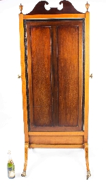 Antique Edwardian Satinwood Marquetry Inlaid Cheval Mirror-6