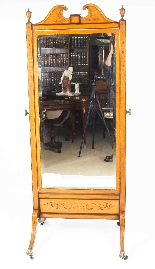 Antique Edwardian Satinwood Marquetry Inlaid Cheval Mirror-1