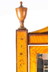 Antique Edwardian Satinwood Marquetry Inlaid Cheval Mirror-8