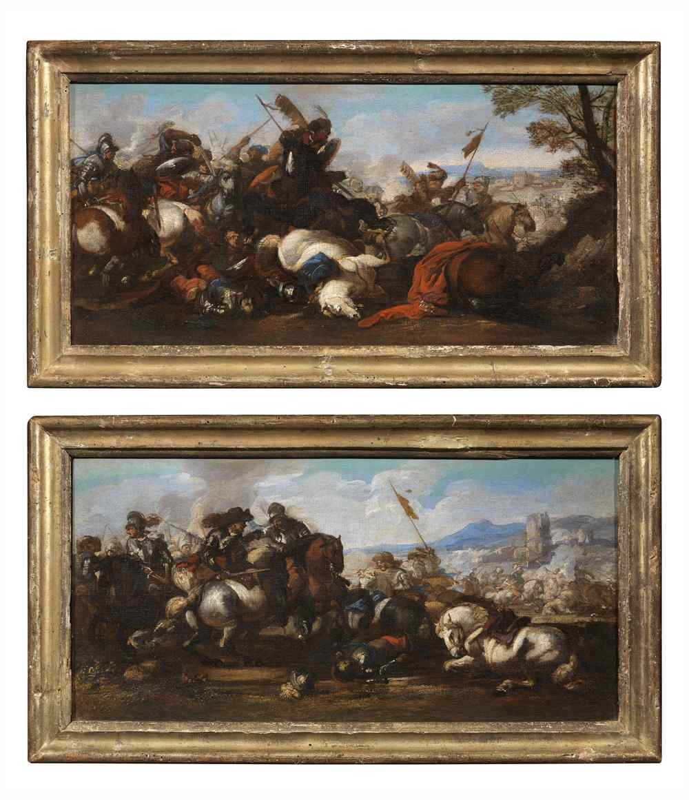 Jacques Courtois The Burgundian 1621-1676-Pair of Battles