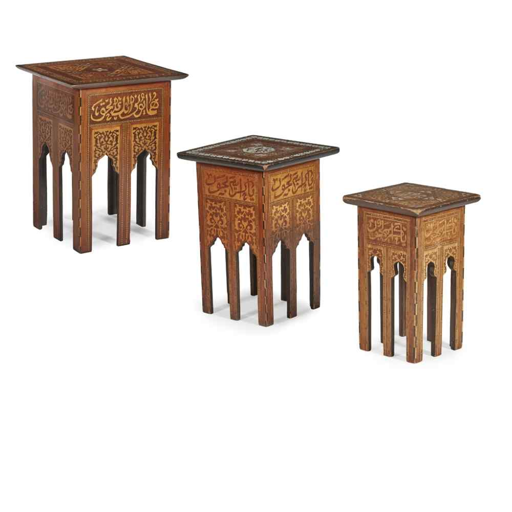 Antique Set 3 Syrian Mother Pearl Inlaid Occasional Tables