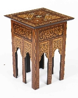 Antique Set 3 Syrian Mother Pearl Inlaid Occasional Tables-6