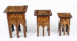 Antique Set 3 Syrian Mother Pearl Inlaid Occasional Tables-0