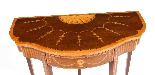 Antique Mahogany Satinwood Inlaid Card Console Table 19th C-2