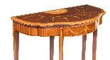 Antique Mahogany Satinwood Inlaid Card Console Table 19th C-4