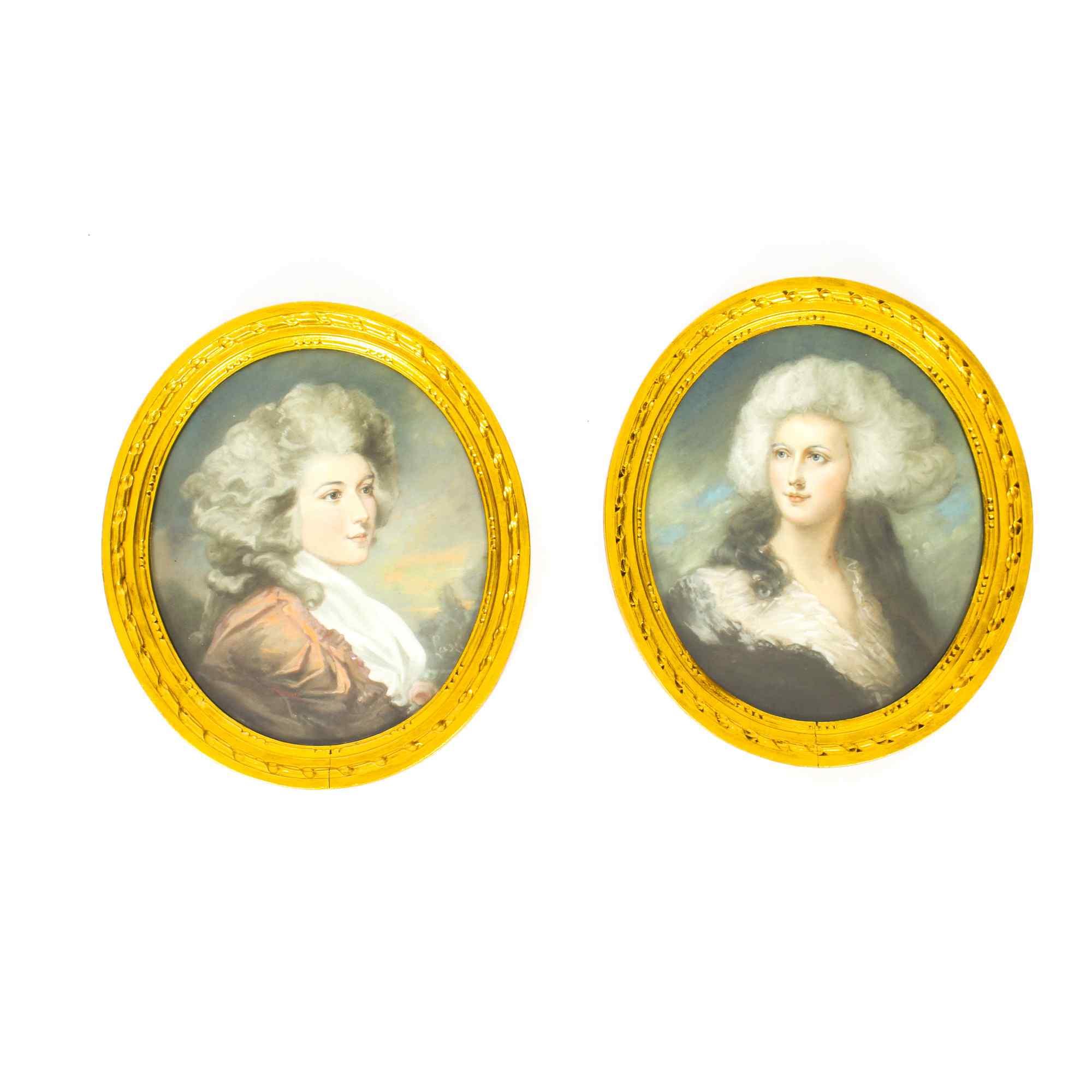 Antique Pair French Pastel & Gouache Portraits Mid 19th C