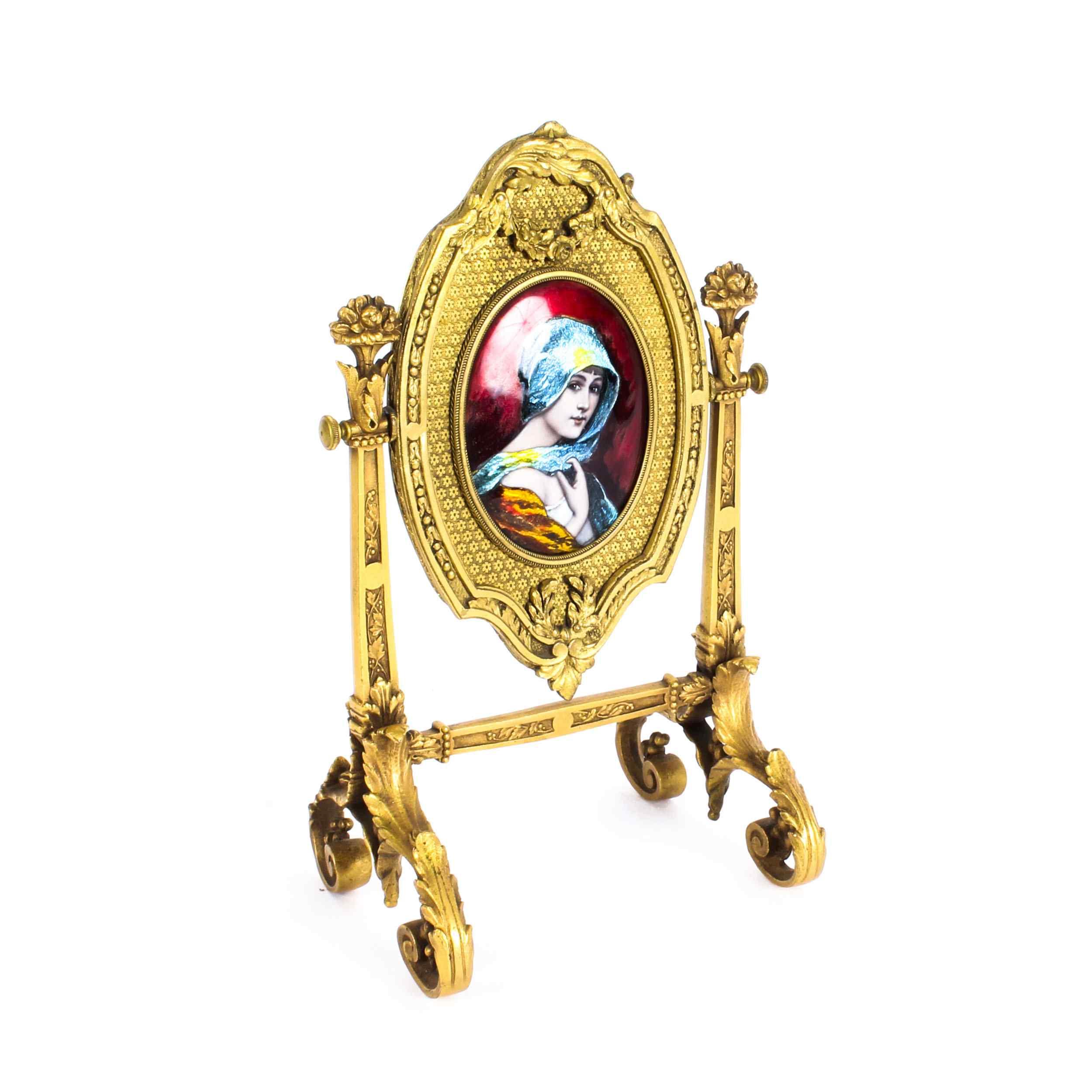 Specchio da tavolo antico smaltato Ormolu e Limoges F.Bienvu