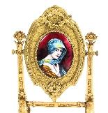 Specchio da tavolo antico smaltato Ormolu e Limoges F.Bienvu-1