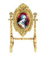 Specchio da tavolo antico smaltato Ormolu e Limoges F.Bienvu-0