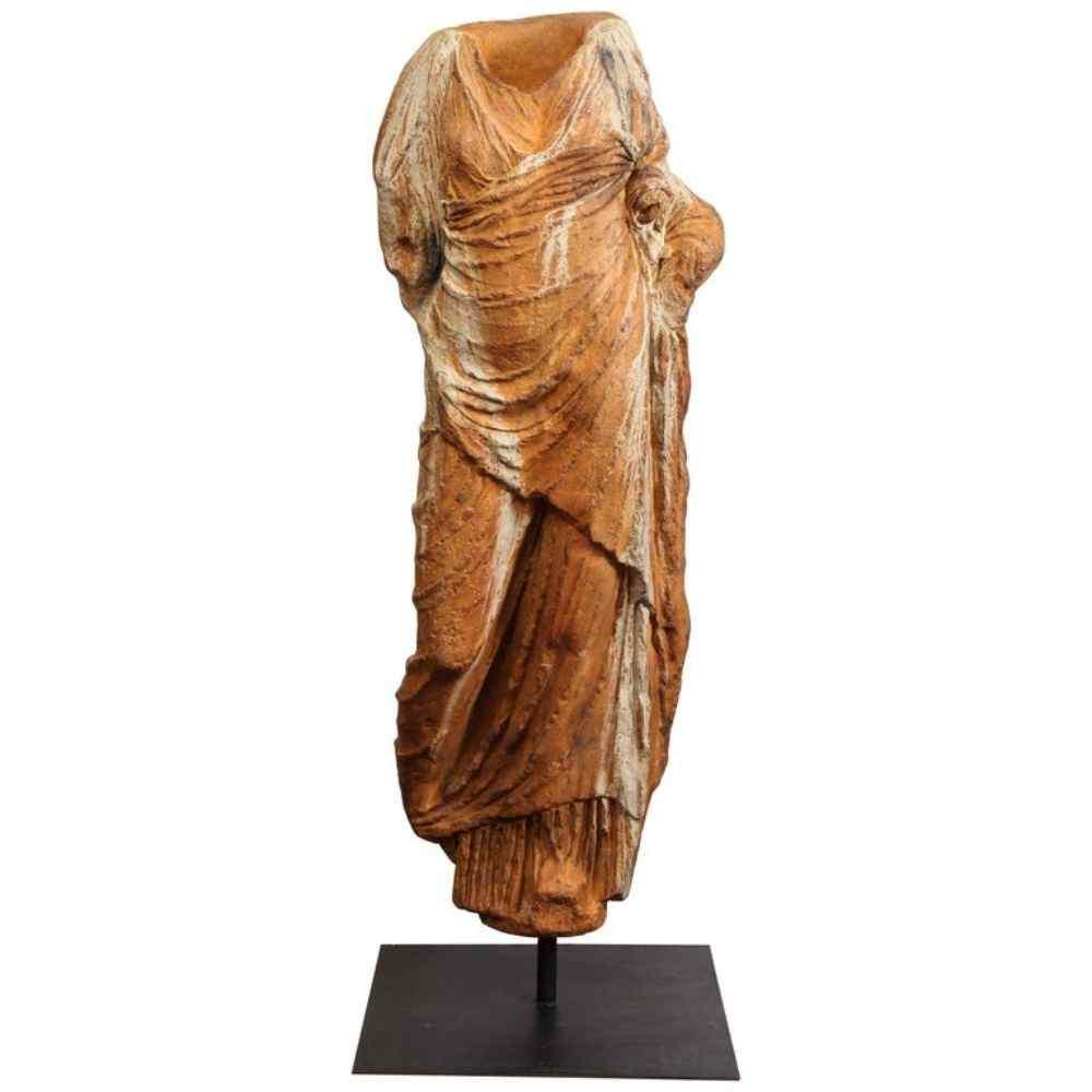 Torso in vetroresina patinata stile romano a grandezza natur