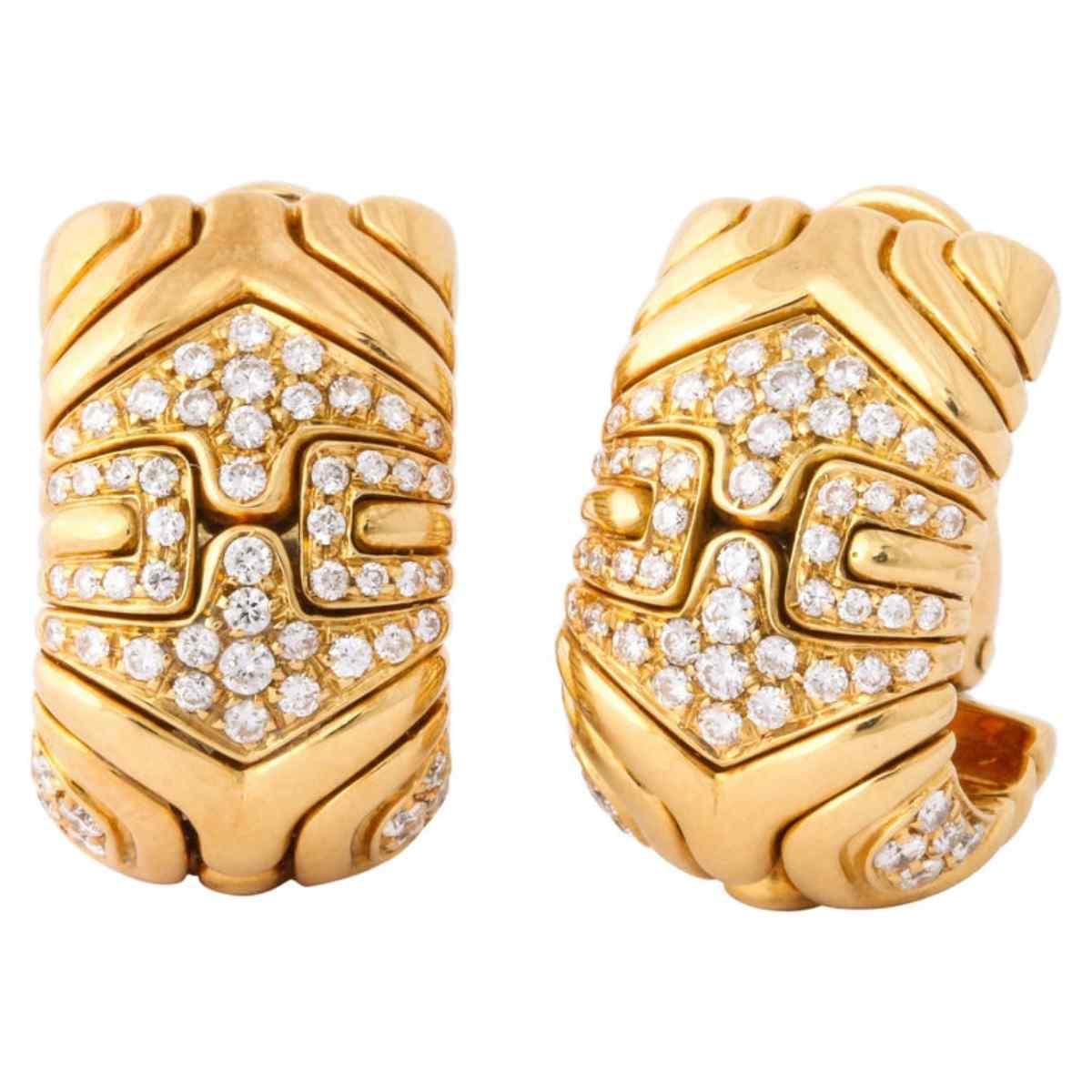 Bulgari, Pair of 18 Karat Gold and Diamond Parentesi Earring