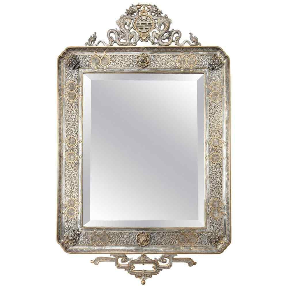 Specchio da parete francese Japonisme dorato e bronzo argent