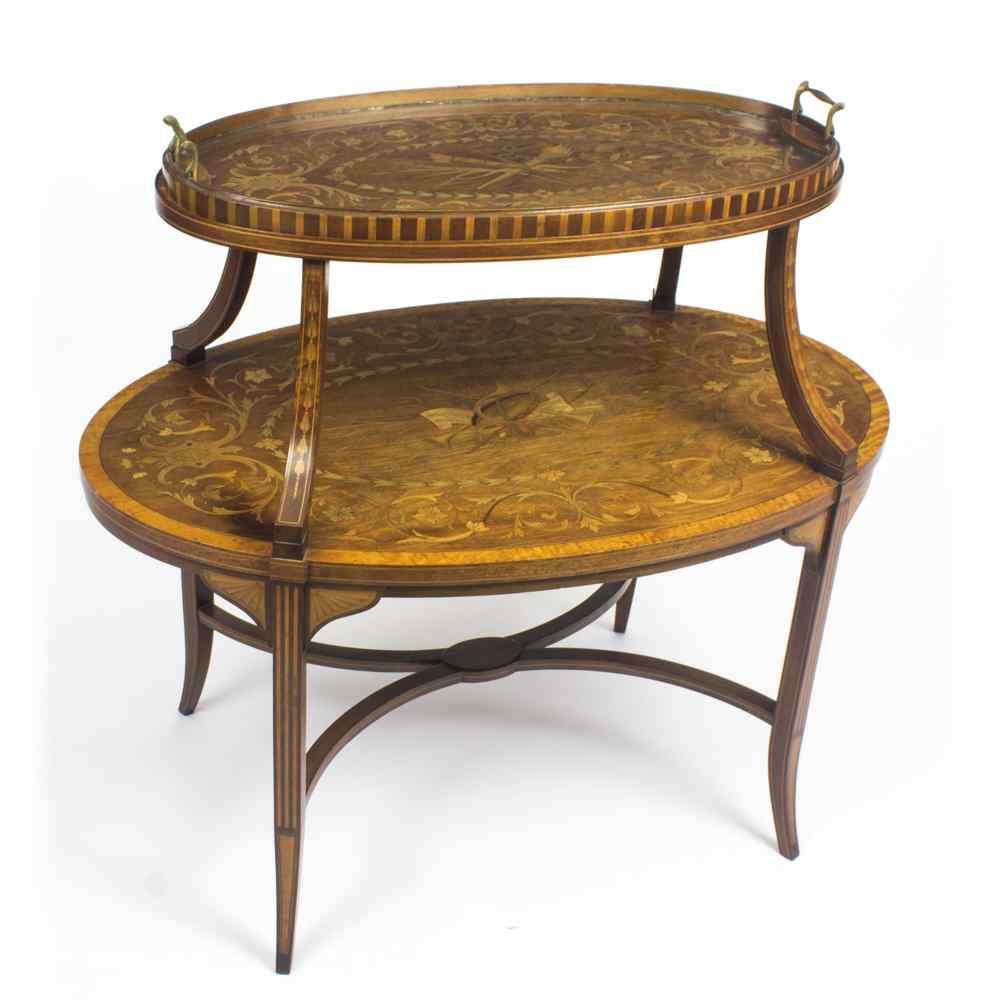Antique English Mahogany & Satinwood Etagere Tray Table