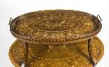 Antique English Mahogany & Satinwood Etagere Tray Table-0