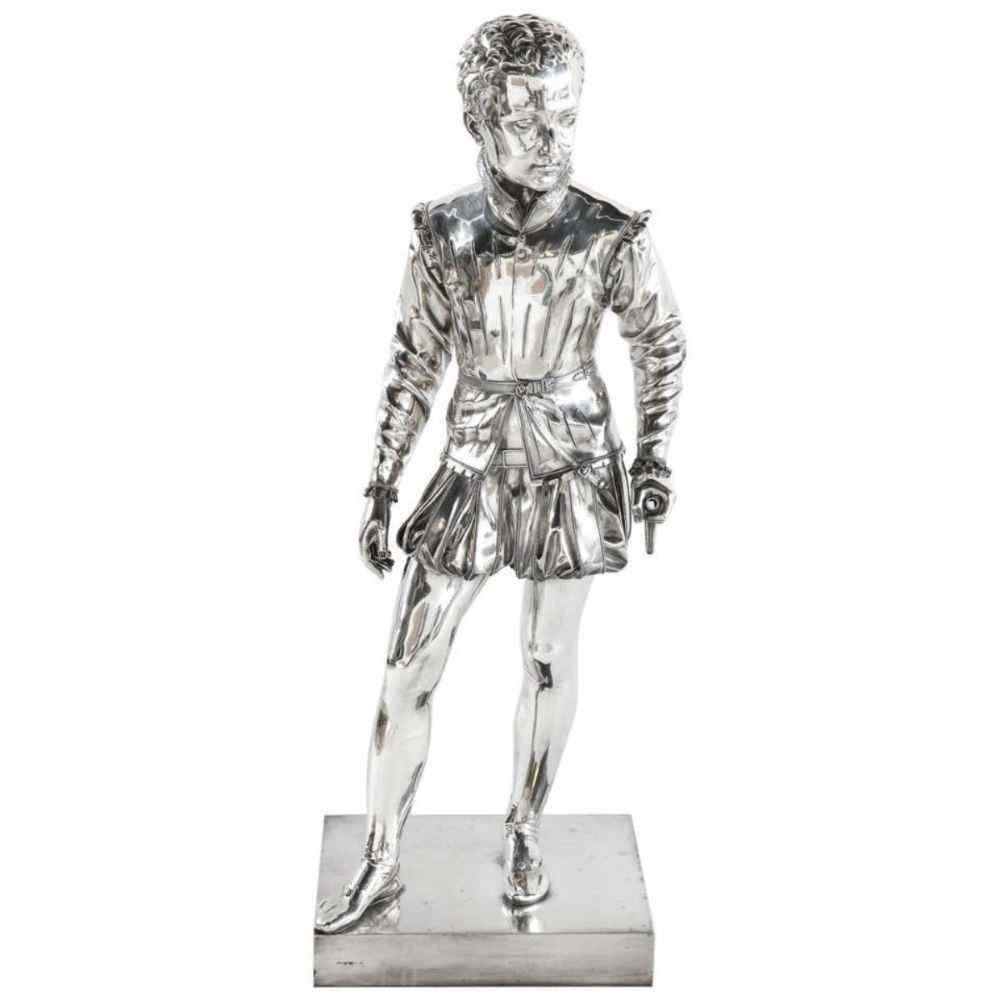 F. Barbedienne, un bronzo argentato a grandezza naturale del