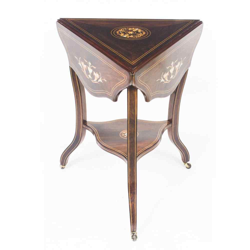 Antique Edwardian Triple Drop Flap Occasional Side Table