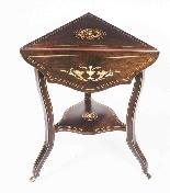 Antique Edwardian Triple Drop Flap Occasional Side Table-5