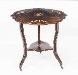 Antique Edwardian Triple Drop Flap Occasional Side Table-1