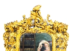 Antique Italian Giltwood Mirror Carved 19th C-2