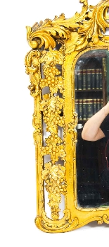 Antique Italian Giltwood Mirror Carved 19th C-4