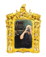 Antique Italian Giltwood Mirror Carved 19th C-1