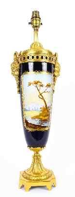 Antique Sevres Porcelain Ormolu Table Lamp 19th C-7