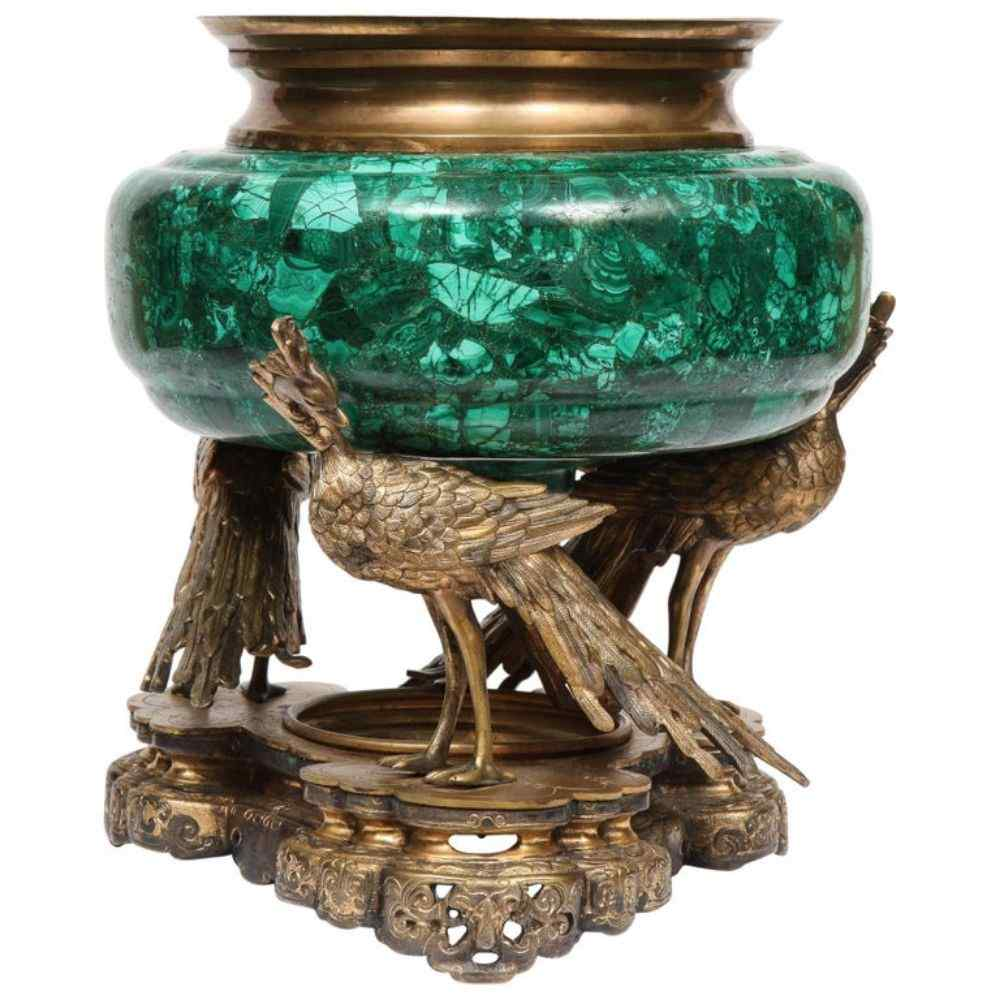 French Japonisme Phoenix Bronze and Malachite Centerpiece by