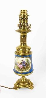 Antique Pair French Bleu Celeste Sevres Vases Lamps 19th C-0