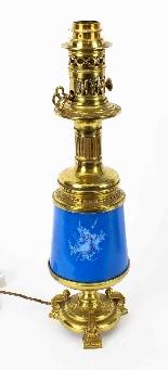 Antique Pair French Bleu Celeste Sevres Vases Lamps 19th C-4