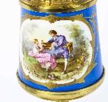 Antique Pair French Bleu Celeste Sevres Vases Lamps 19th C-2