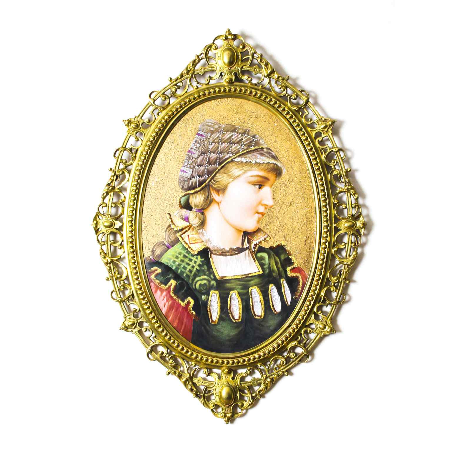 Antique Berlin Porcelain Plaque Young Woman Ormolu Frame