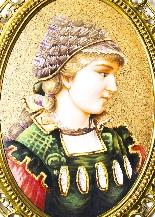 Antique Berlin Porcelain Plaque Young Woman Ormolu Frame-1