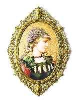 Antique Berlin Porcelain Plaque Young Woman Ormolu Frame-6