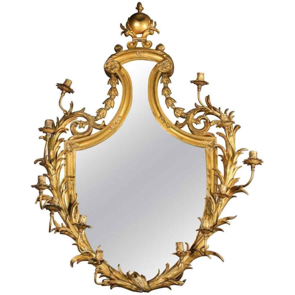 Specchio Girandole Ormolu in bronzo dorato molto fine di Edw