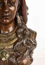 Uno squisito busto in bronzo orientalista multi-patinato fra-2