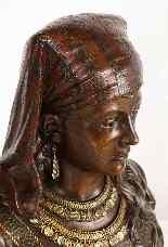 Uno squisito busto in bronzo orientalista multi-patinato fra-10