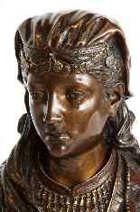 Uno squisito busto in bronzo orientalista multi-patinato fra-14