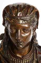 Uno squisito busto in bronzo orientalista multi-patinato fra-19