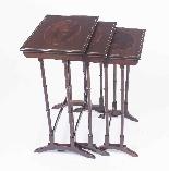 Antique Victorian Mahogany & Inlaid Nest of 3 Tables c.1880-2