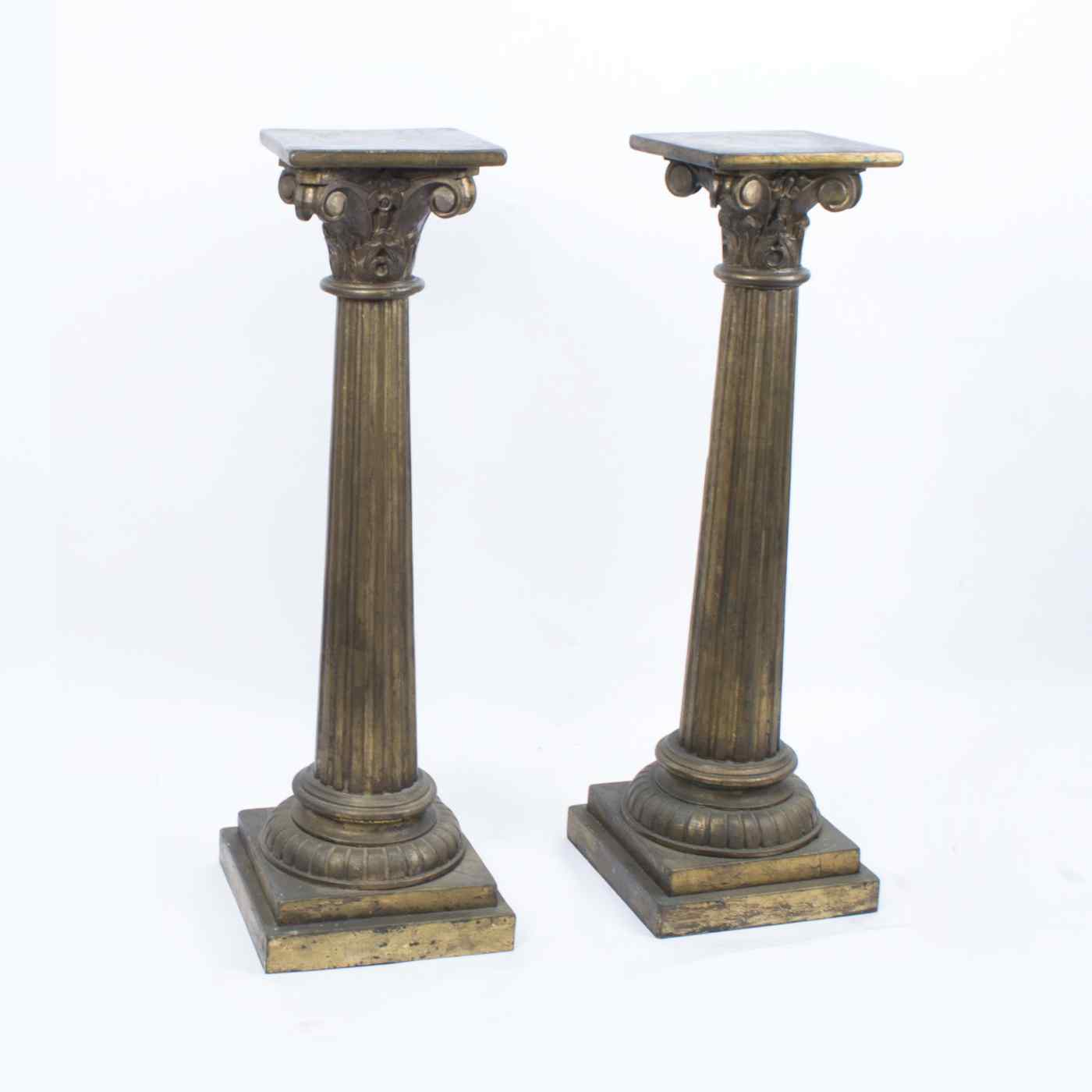 Paire de piédestaux de colonne corinthienne antique c.1900