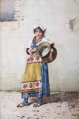Acquerello antico 'Water Carrier' F Indoni c.1890-0