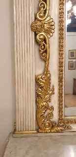 Grande console e specchio, legno laccato e dorato, Toscana,-3