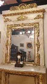 Grande console e specchio, legno laccato e dorato, Toscana,-7