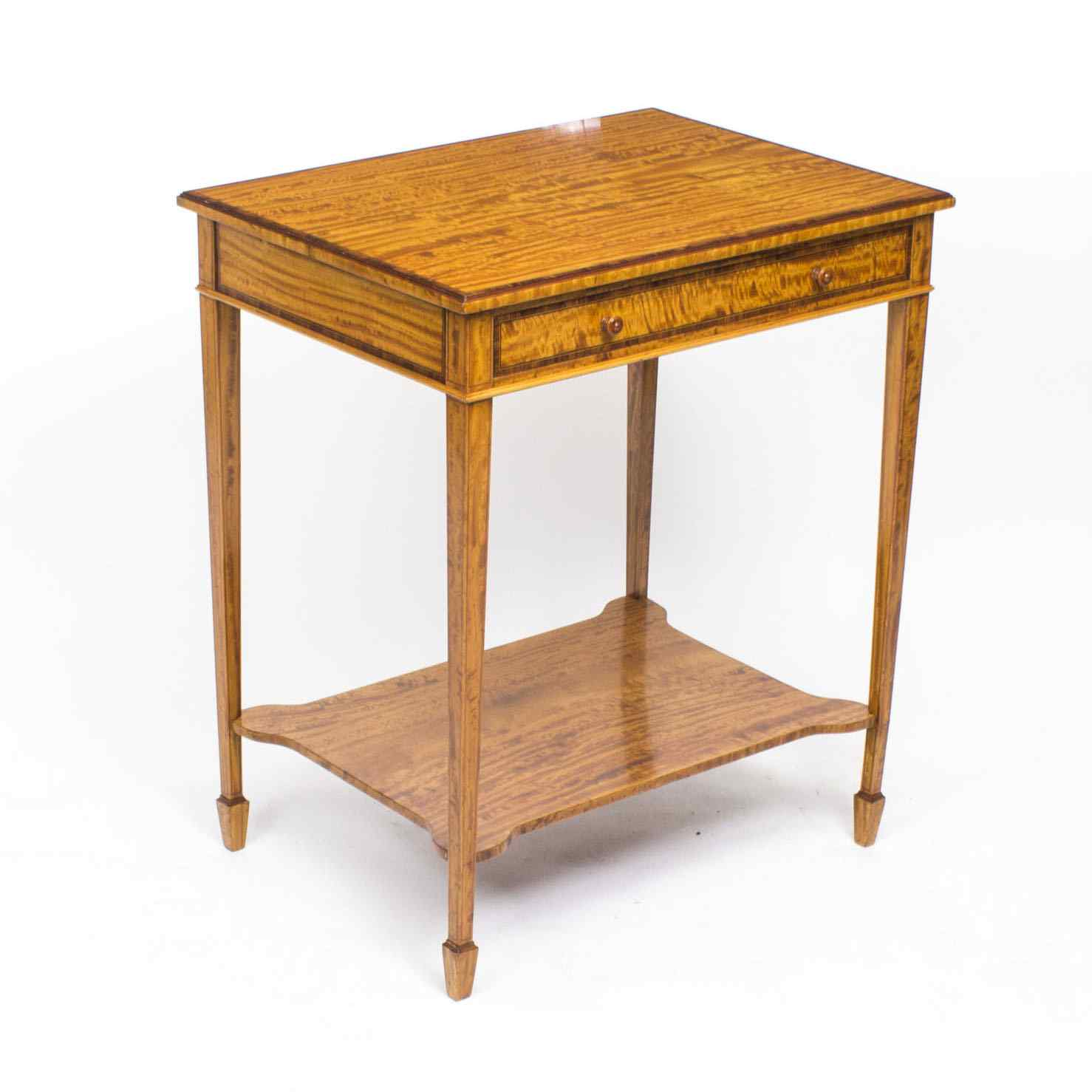 Antique Sheraton Revival Satinwood Occasional Side Table
