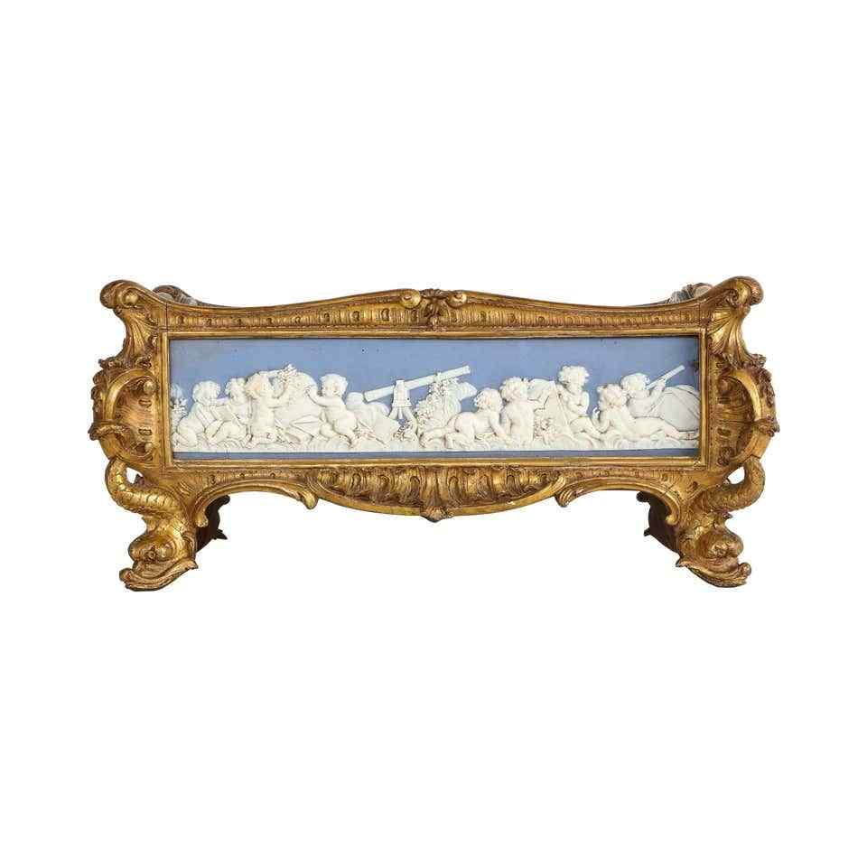 Centrotavola Wedgewood in legno dorato di Napoleone III e Ja