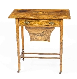 Antique Edwardian Inlaid Workbox Side Occasional Table-1